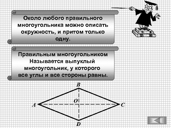 Около любого правильного многоугольника можно описать окружность, и притом только одну. Правильным многоугольником Называется