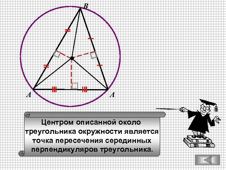 В А А Центром описанной около треугольника окружности является точка пересечения серединных перпендикуляров треугольника.