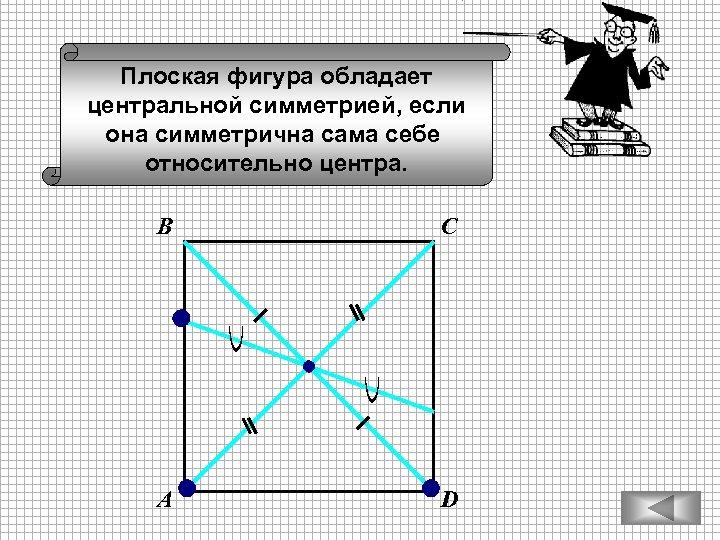 Плоская фигура обладает центральной симметрией, если она симметрична сама себе относительно центра. В С