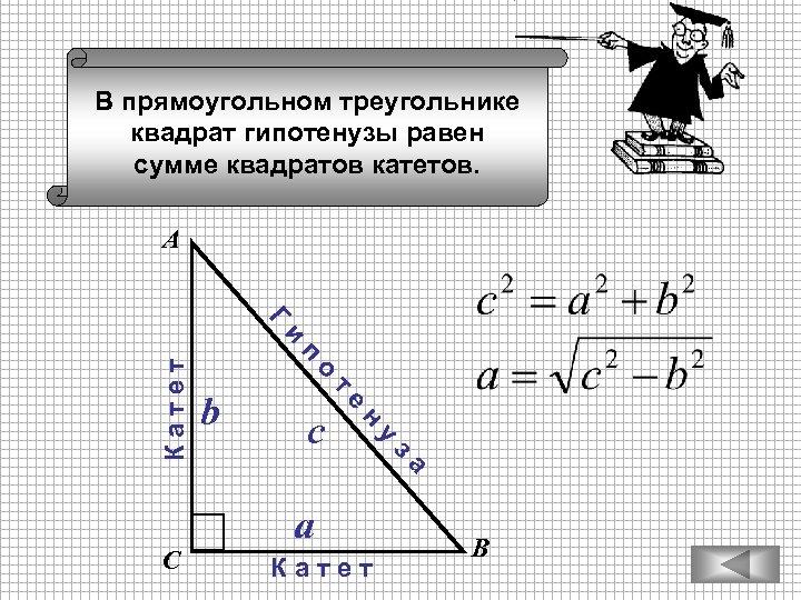 В прямоугольном треугольнике квадрат гипотенузы равен сумме квадратов катетов. А a К а т