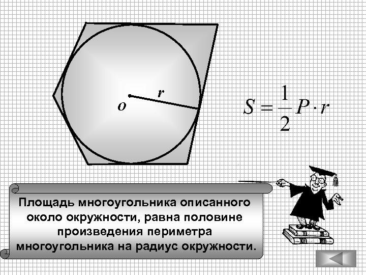 О r Площадь многоугольника описанного около окружности, равна половине произведения периметра многоугольника на радиус