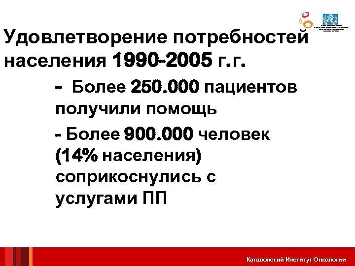 Удовлетворение потребностей населения 1990 -2005 г. г. - Более 250. 000 пациентов ЦЕНТР СОТРУДНИЧЕСТВА