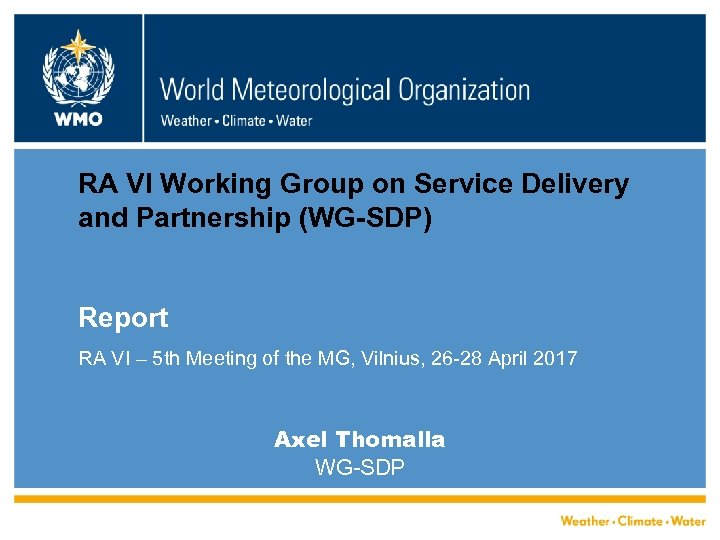RA VI Working Group on Service Delivery and Partnership (WG-SDP) Report RA VI –