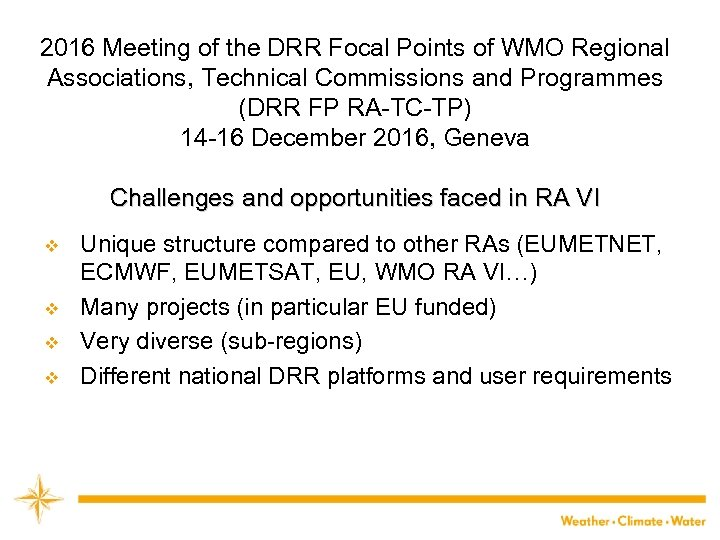 2016 Meeting of the DRR Focal Points of WMO Regional Associations, Technical Commissions and
