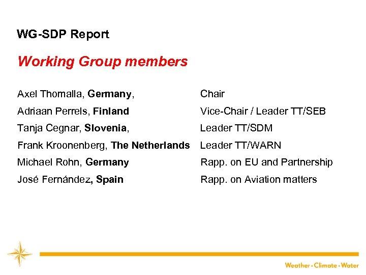 WG-SDP Report Working Group members Axel Thomalla, Germany, Chair Adriaan Perrels, Finland Vice-Chair /