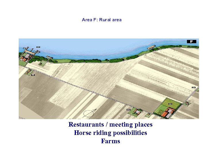 Area F: Rural area Restaurants / meeting places Horse riding possibilities Farms