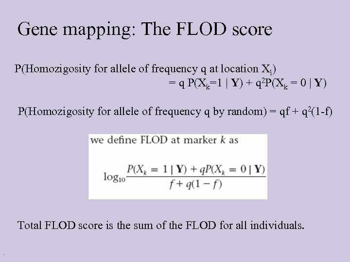 Gene mapping: The FLOD score P(Homozigosity for allele of frequency q at location Xi)