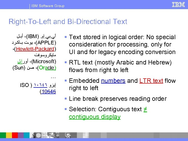 IBM Software Group Right-To-Left and Bi-Directional Text (، ﺃﺒـﻞ IBM). آﻲ. ﺑﻲ. ﺇﻡ (،