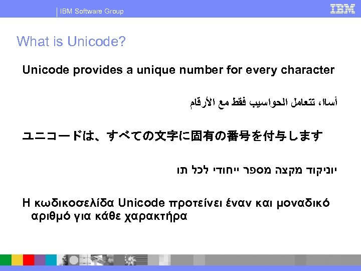 IBM Software Group What is Unicode? Unicode provides a unique number for every character