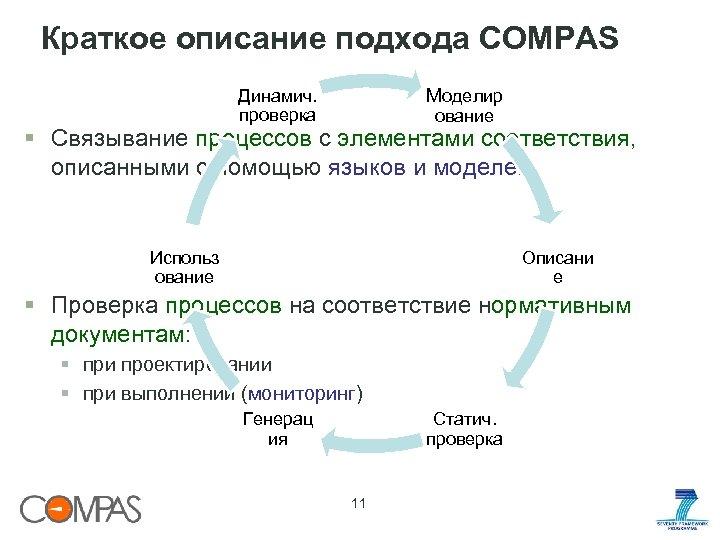 Краткое описание подхода COMPAS Моделир Динамич. проверка ование § Связывание процессов с элементами соответствия,