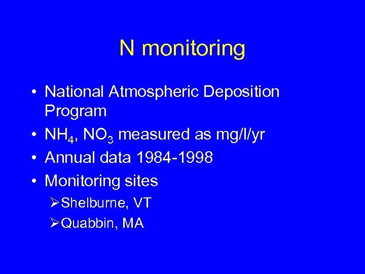 N monitoring • National Atmospheric Deposition Program • NH 4, NO 3 measured as