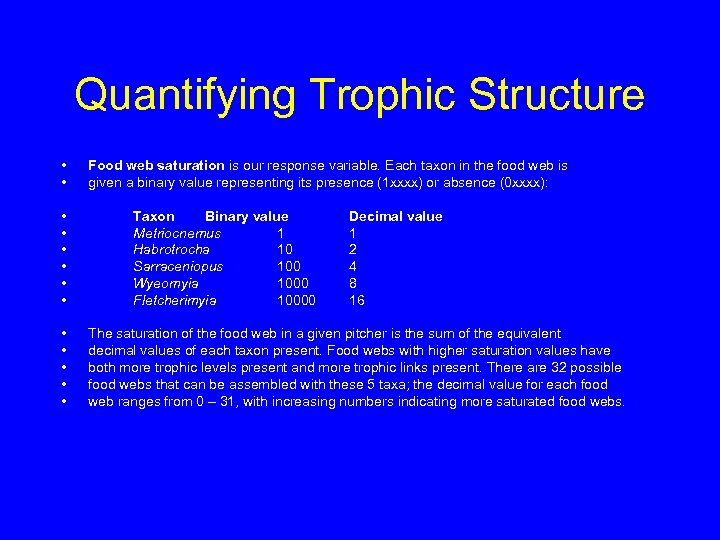 Quantifying Trophic Structure • • • • Food web saturation is our response variable.