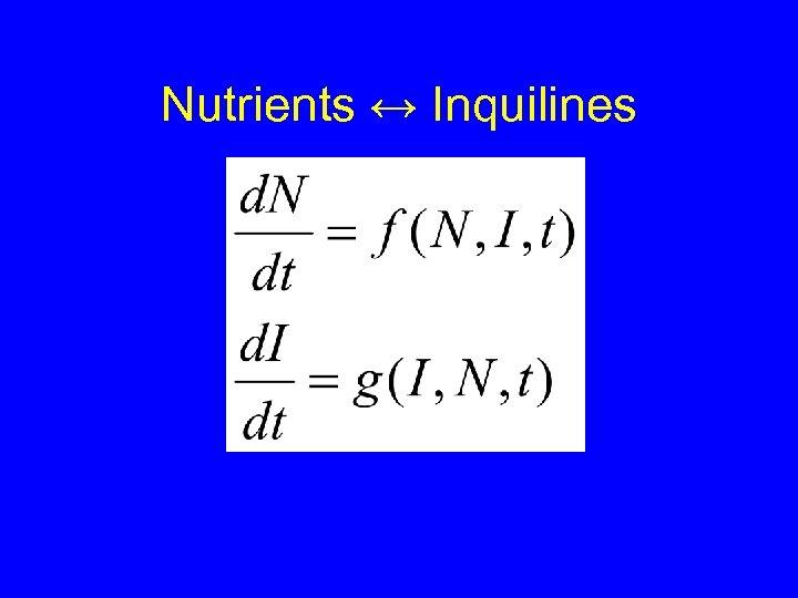 Nutrients ↔ Inquilines
