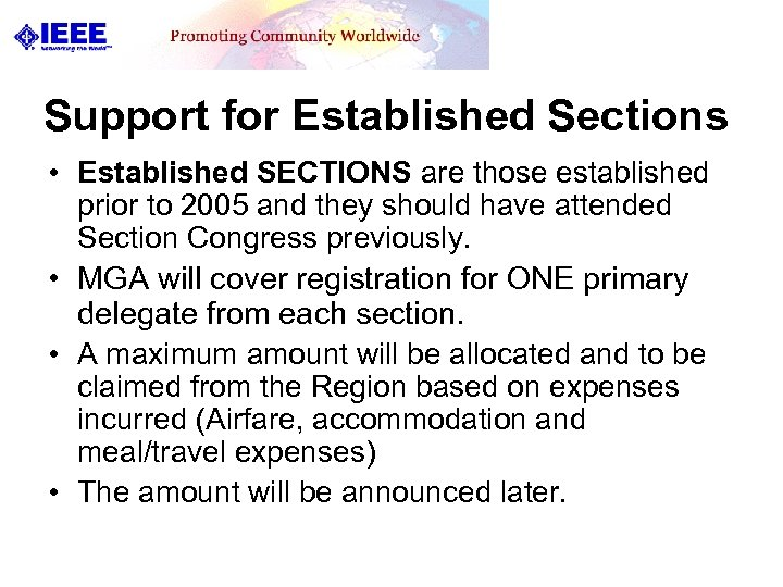 Support for Established Sections • Established SECTIONS are those established prior to 2005 and