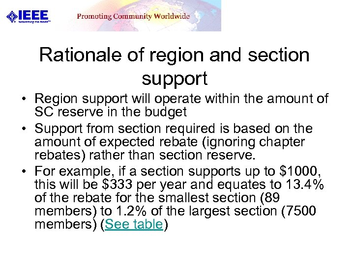 Rationale of region and section support • Region support will operate within the amount