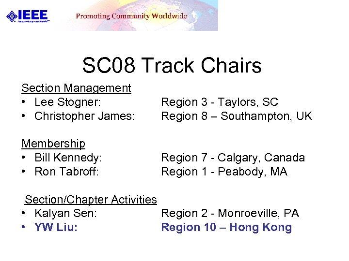 SC 08 Track Chairs Section Management • Lee Stogner: • Christopher James: Region 3