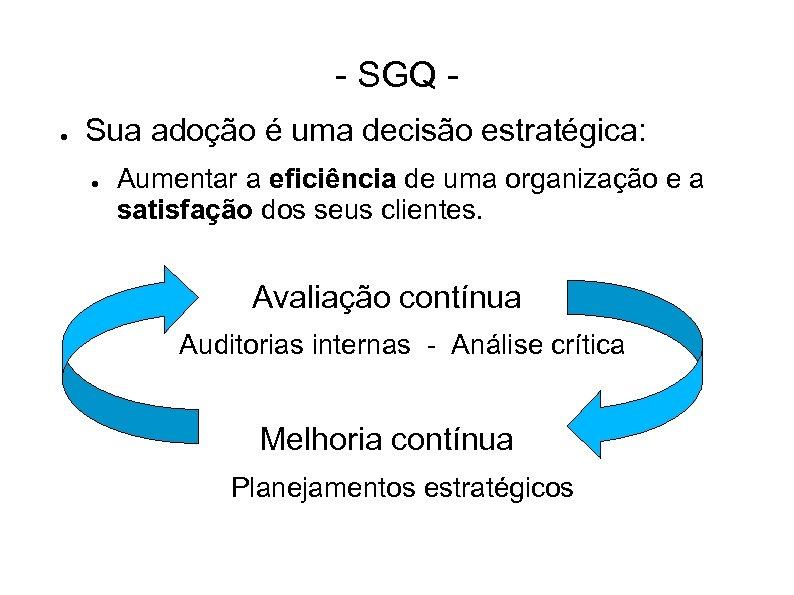 - SGQ ● Sua adoção é uma decisão estratégica: ● Aumentar a eficiência de