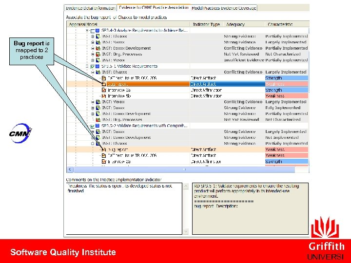 Bug report is mapped to 2 practices Software Quality Institute Griffith UNIVERSI