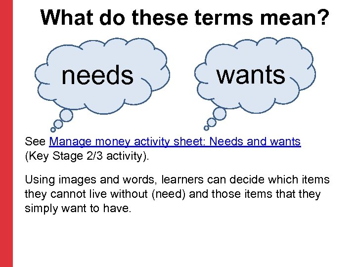 What do these terms mean? needs wants See Manage money activity sheet: Needs and
