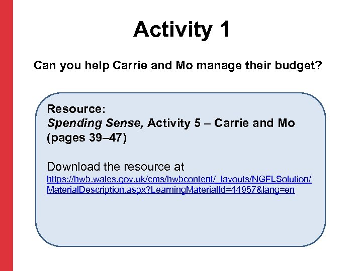 Activity 1 Can you help Carrie and Mo manage their budget? Resource: Spending Sense,
