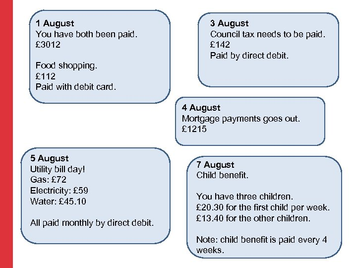 1 August You have both been paid. £ 3012 3 August Council tax needs