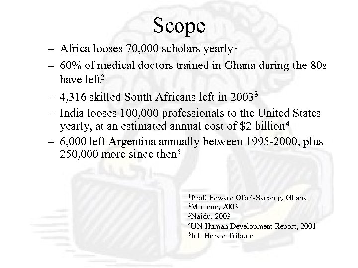 Scope – Africa looses 70, 000 scholars yearly 1 – 60% of medical doctors