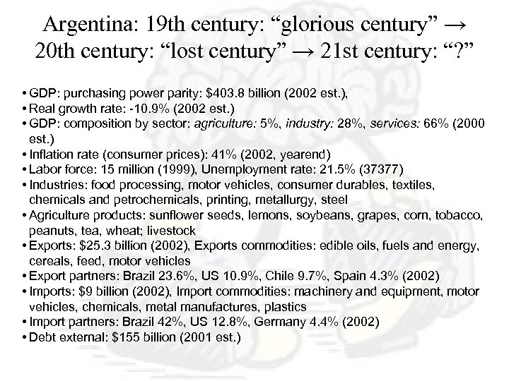 "Argentina: 19 th century: ""glorious century"" → 20 th century: ""lost century"" → 21"
