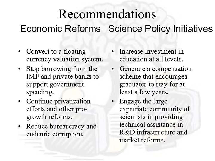 Recommendations Economic Reforms Science Policy Initiatives • Convert to a floating currency valuation system.