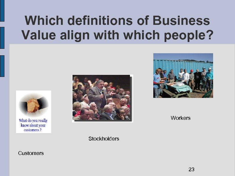 Which definitions of Business Value align with which people? Workers Stockholders Customers 23