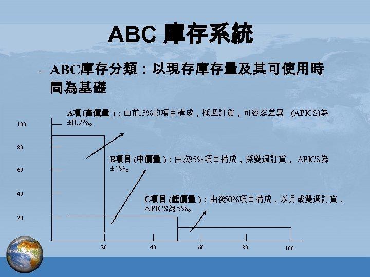 ABC 庫存系統 – ABC庫存分類:以現存庫存量及其可使用時 間為基礎 100 A項 (高價量 ):由前 15%的項目構成,採週訂貨,可容忍差異 (APICS)為 ± 0. 2%。