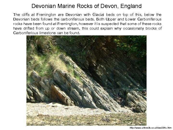Devonian Marine Rocks of Devon, England The cliffs at Fremington are Devonian with Glacial
