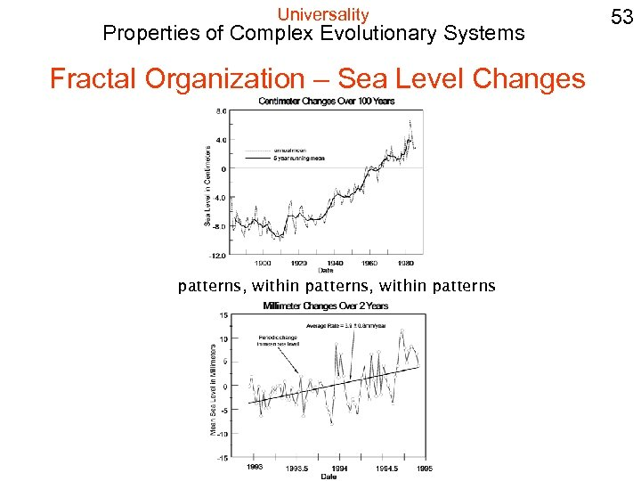 Universality Properties of Complex Evolutionary Systems Fractal Organization – Sea Level Changes patterns, within