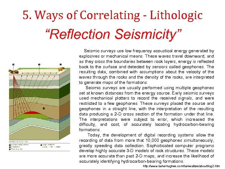 """5. Ways of Correlating - Lithologic """"Reflection Seismicity"""" Seismic surveys use low frequency acoustical"""