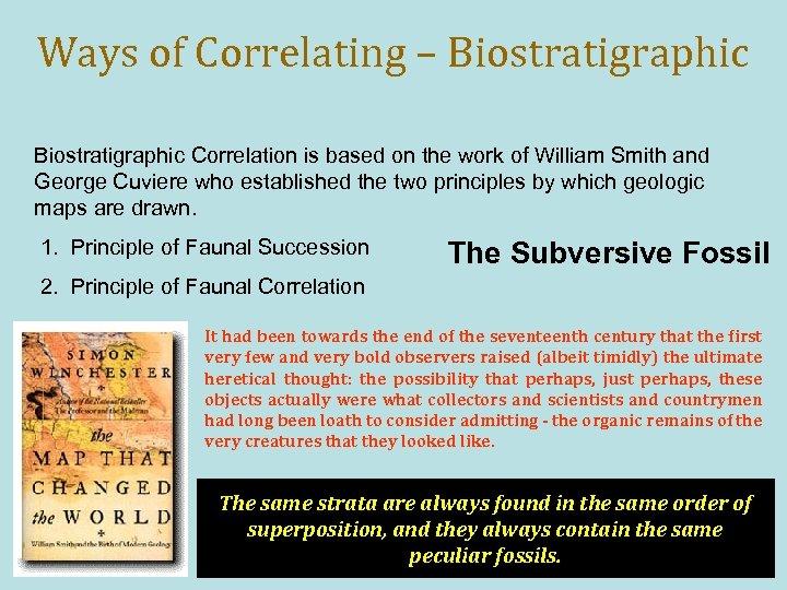 Ways of Correlating – Biostratigraphic Correlation is based on the work of William Smith