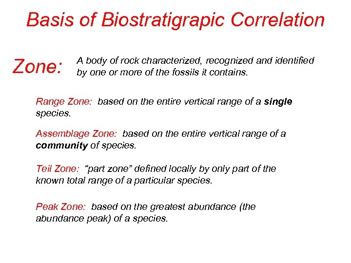 Basis of Biostratigrapic Correlation Zone: A body of rock characterized, recognized and identified by