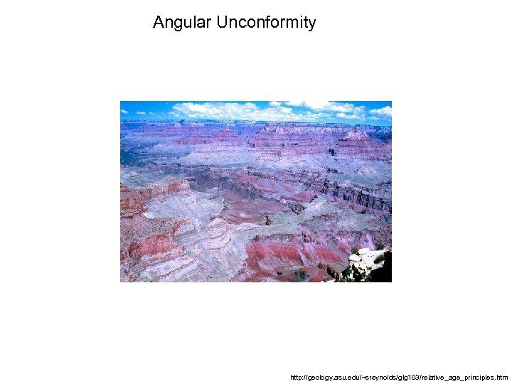 Angular Unconformity http: //geology. asu. edu/~sreynolds/glg 103/relative_age_principles. htm