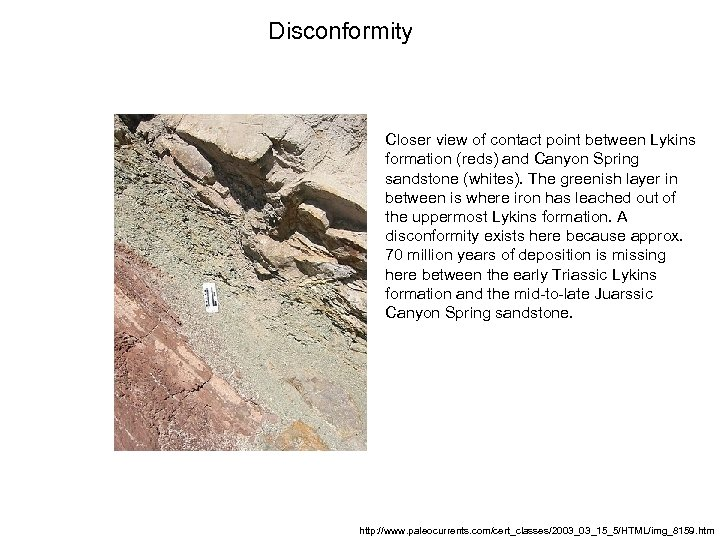 Disconformity Closer view of contact point between Lykins formation (reds) and Canyon Spring sandstone