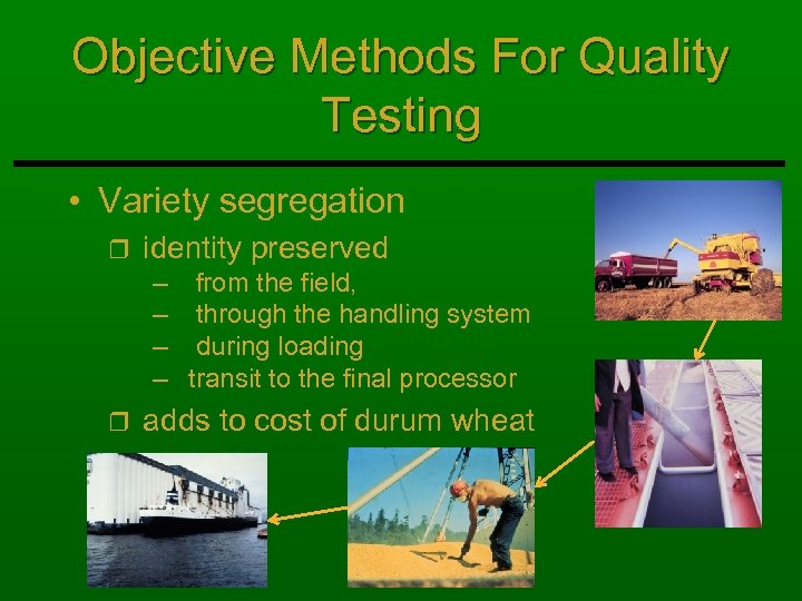 Objective Methods For Quality Testing • Variety segregation r identity preserved – from the