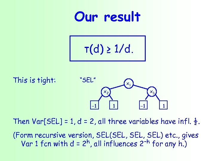 """Our result τ(d) ≥ 1/d. This is tight: """"SEL"""" x 1 x 2 −"""