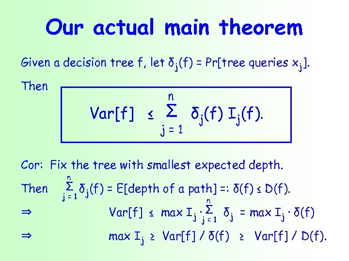 Our actual main theorem Given a decision tree f, let δj(f) = Pr[tree queries