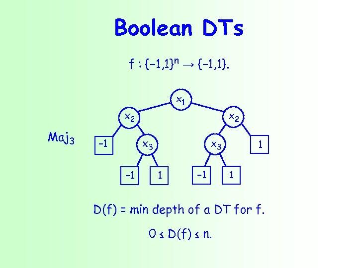 Boolean DTs f : {− 1, 1}n → {− 1, 1}. x 1 x