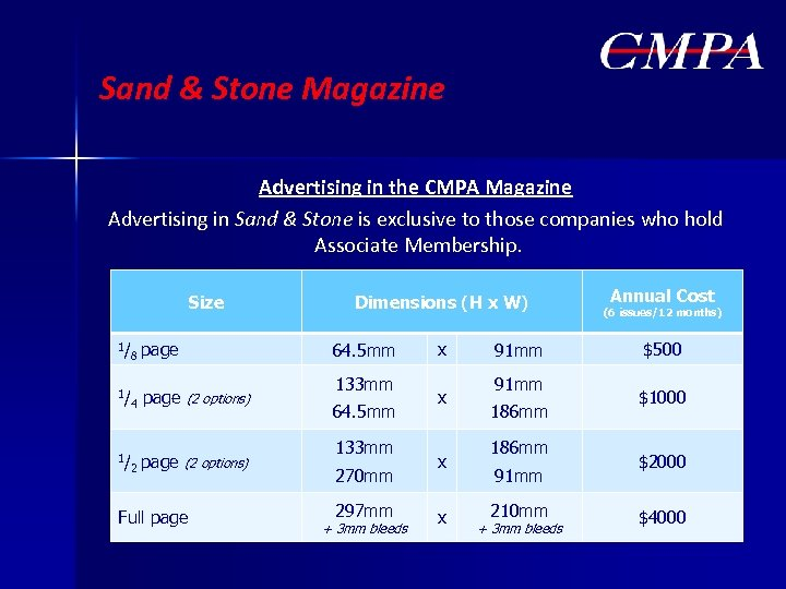 Sand & Stone Magazine Advertising in the CMPA Magazine Advertising in Sand & Stone