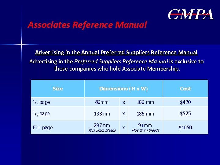 Associates Reference Manual Advertising in the Annual Preferred Suppliers Reference Manual Advertising in the