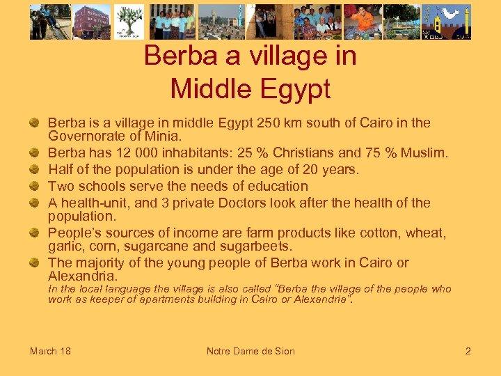 Berba a village in Middle Egypt Berba is a village in middle Egypt 250