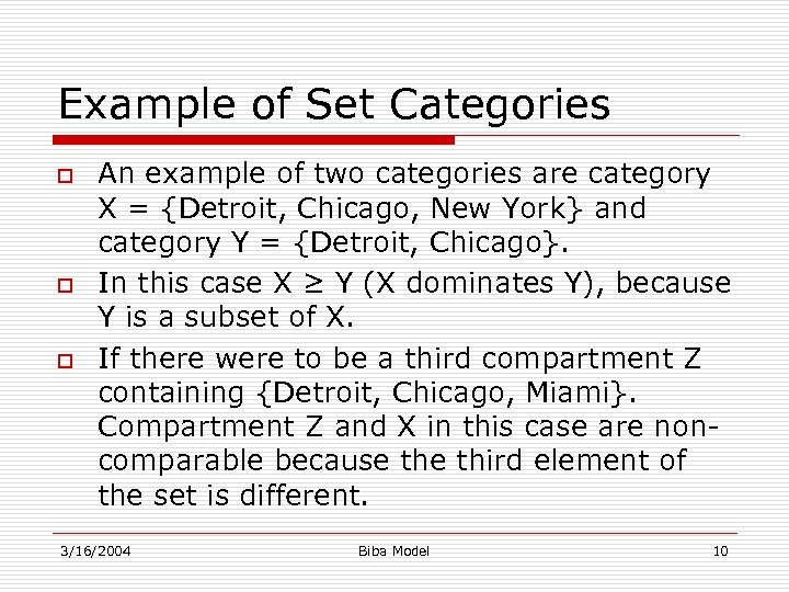 Example of Set Categories o o o An example of two categories are category