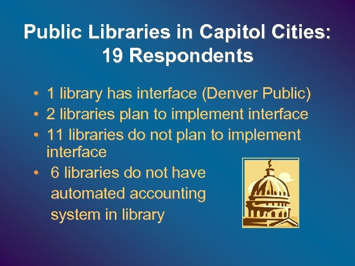 Public Libraries in Capitol Cities: 19 Respondents • • • 1 library has interface