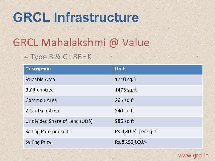 GRCL Infrastructure GRCL Mahalakshmi @ Value – Type B & C : 3 BHK