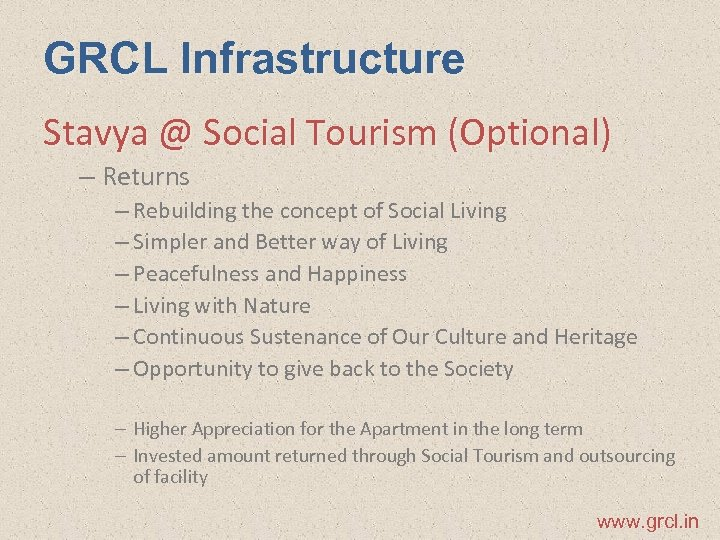 GRCL Infrastructure Stavya @ Social Tourism (Optional) – Returns – Rebuilding the concept of
