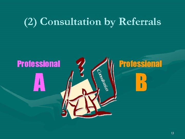 (2) Consultation by Referrals Professional tion sulta Con A Professional B 13