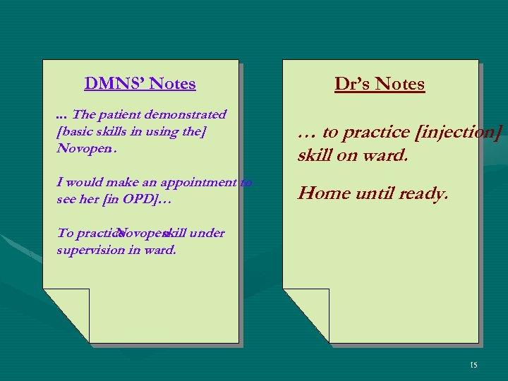 DMNS' Notes. . . The patient demonstrated Dr's Notes [basic skills in using the]
